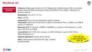 Prodotti connessi Tim . Caratteristiche Tecniche Apple Macbook air